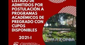 Listado de admitidos por Postulación a Programas Académicos de Pregrado con cupos Disponibles 2021 - I