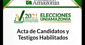 Acta de Candidatos y Testigos habilitados - Convocatoria Electoral No. 002 del 2021