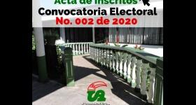 Candidatos inscritos Convocatoria Electoral No. 002 de 2020