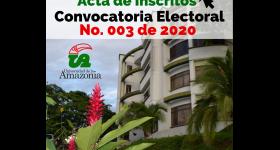 Candidatos inscritos Convocatoria Electoral No. 003 de 2020