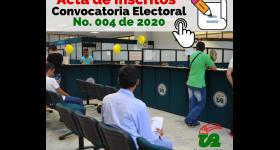 Candidatos inscritos Convocatoria Electoral No. 004 de 2020