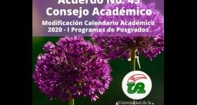 Modificación Calendario Académico 2020 -I Programas de Posgrados