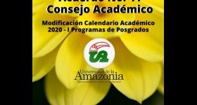 Modificación Calendario Académico 2020 -I Posgrados