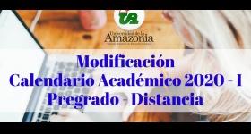 Modificación Calendario Académico 2020 - I Pregrado Distancia