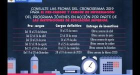 Fechas de pre-cargue  y cargue 2019, con la inclusión de las fechas de Diciembre 2019 y Enero 2020