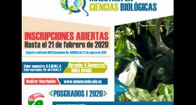 INSCRIPCIONES ABIERTAS - MAESTRÍA EN CIENCIAS BIOLÓGICAS I-2020