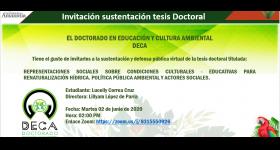 Invitación Sustentación Tesis Doctoral - Doctorado en Educación y Cultura Ambiental