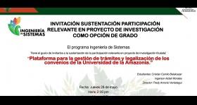 Invitación Sustentación - Programa de Ingeniería de Sistemas