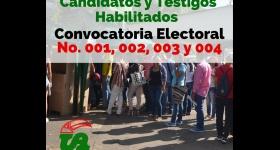 Listado de Candidatos Habilitados y Testigos Electorales a la Convocatoria No. 001, 002, 003 y 004 de 2020