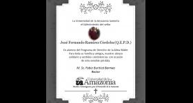 Uniamazonia sentidas condolencias: José Fernando Ramírez Córdoba