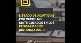 Listado de Admitidos por concepto de cupos no matriculados 2021 - II Pregrado Distancia