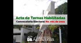 Acta de ternas habilitadas - Convocatoria Electoral No. 001 de 2021